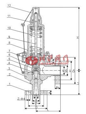 高压微启式安全阀 结构图