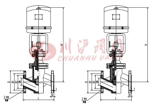 电动衬氟调节阀 结构图